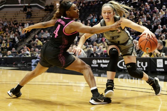 Penn State guard Siyeh Frazier (4) guards Purdue guard Karissa McLaughlin (1) during the third quarter of a NCAA women's basketball game, Sunday, Jan. 26, 2020 at Mackey Arena in West Lafayette.