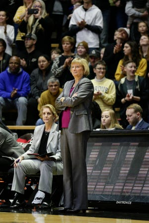 Purdue head coach Sharon Versyp watches the court during the first quarter of a NCAA men's basketball game, Sunday, Jan. 26, 2020 at Mackey Arena in West Lafayette.