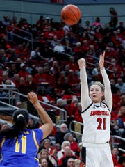 Louisville's Kylee Shook is a good shot-blocker and can shoot from outside, making her an interesting WNBA prospect.