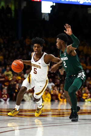 MSU's Rocket Watts will have his hands full Monday night with Minnesota's Marcus Carr, who's averaging better than 24 points per game.