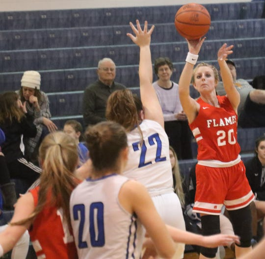 Mansfield Christian's Elle Schmitz lit it up from beyond the arch in a win over St. Peter's.