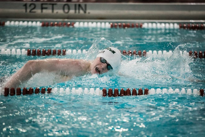 Delbarton freshman Rob Alexy won the 200-meter freestyle at the Morris County Championships on Jan. 25, 2020 at Morristown High School.