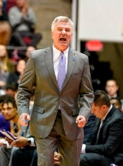 Jan 25, 2020; Tuscaloosa, Alabama, USA; Kansas State Wildcats head coach Bruce Weber reacts during the first half against the Alabama Crimson Tide at Coleman Coliseum. Mandatory Credit: Marvin Gentry-USA TODAY Sports