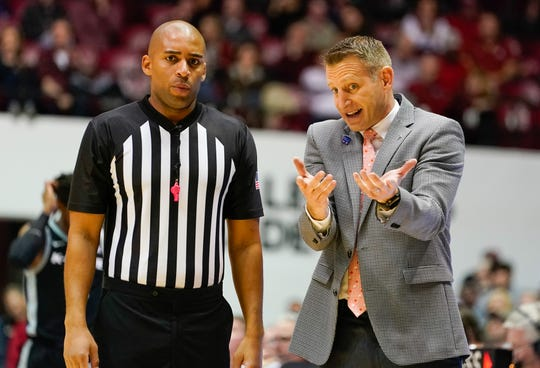 Jan 25, 2020; Tuscaloosa, Alabama, USA; Alabama Crimson Tide head coach Nate Oats pleads his case to an official during the second half against the Kansas State Wildcats at Coleman Coliseum. Mandatory Credit: Marvin Gentry-USA TODAY Sports