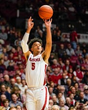 Jan 25, 2020; Tuscaloosa, Alabama, USA; Alabama Crimson Tide guard Jaden Shackelford (5) shoots against the Kansas State Wildcats during the second half at Coleman Coliseum. Mandatory Credit: Marvin Gentry-USA TODAY Sports