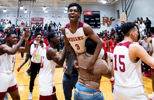 Pinson Valley's Kameron Woods (3) is carried off of the court after defeating Lee at the Pinson Valley High School campus in Pinson, Ala., on Saturday January 25, 2020.