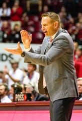 Jan 25, 2020; Tuscaloosa, Alabama, USA; Alabama Crimson Tide head coach Nate Oats reacts during the second half against the Kansas State Wildcats at Coleman Coliseum. Mandatory Credit: Marvin Gentry-USA TODAY Sports