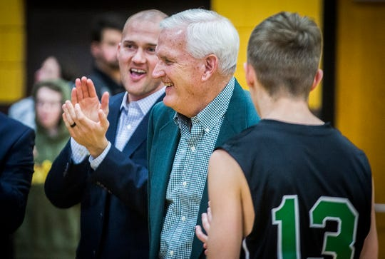 Yorktown assistant coach Chuck Moulton is introduced prior to the Tigers' game at Monroe Central High School Saturday, Jan. 25, 2020.