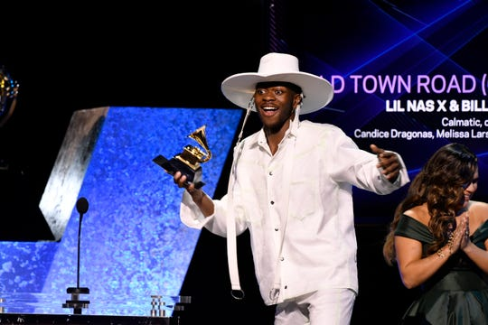 Lil Nas X accepts the award for Best Music Video for 'Old Town Road' during the 62nd annual GRAMMY Awards Premiere Ceremony on Jan. 26, 2020 at the Microsoft Theater in Los Angeles, Calif.