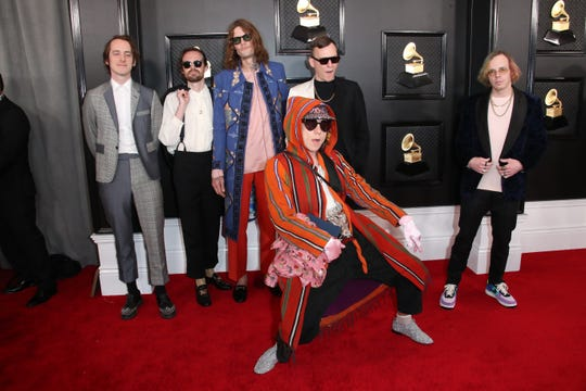 Cage the Elephant arrives on the red carpet during the 62nd annual GRAMMY Awards on Jan. 26, 2020 at the STAPLES Center in Los Angeles, Calif.