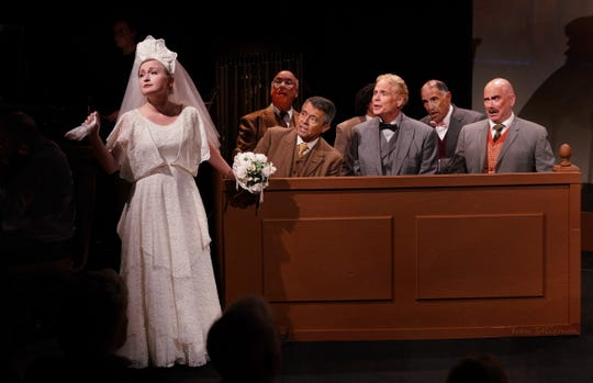 """Angelina (Gretchen Pille) charms  her way to a win in """"Trial by Jury."""""""