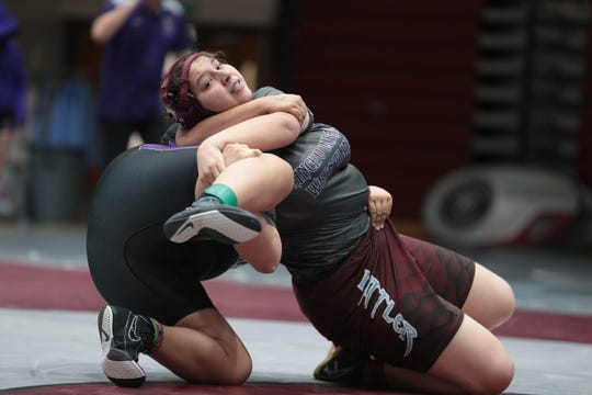 Rancho Mirage's Haylee Acuna defeated Shadow Hills' Melanie Ortiz 6-4 in overtime during the Desert Empire League wrestling finals in Rancho Mirage, Calif., on Saturday, January 25, 2020.