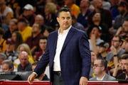 Arizona Wildcats head coach Sean Miller looks on after a make basket against the Arizona State Sun Devils on Jan. 25, 2020 at Desert Financial Arena in Tempe, AZ. (Brady Klain/The Republic)