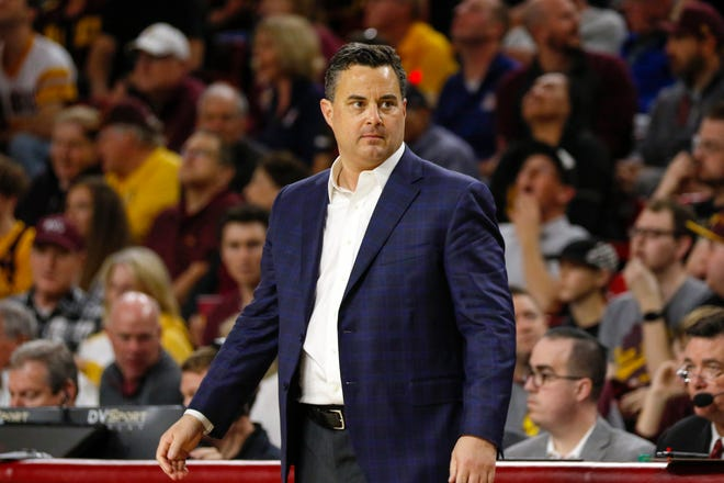 Arizona Wildcats head coach Sean Miller looks on after a make basket against the Arizona State Sun Devils on Jan. 25, 2020 at Desert Financial Arena in Tempe, AZ. (Brady Klain/The Republic)