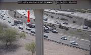 A truck pulling a trailer flipped on Interstate 10 near Washington Street in Phoenix on Jan. 26, 2020.