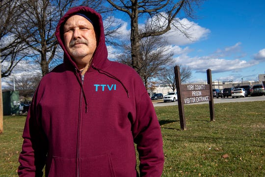 """Tom Shirey, 58 of East Prospect, was conducting a """"first amendment audit"""" at the York County Prison recently when he was approached by a prison official telling him he couldn't film the facility from a public sidewalk.Sunday, January 26, 2020.John A. Pavoncello photo"""