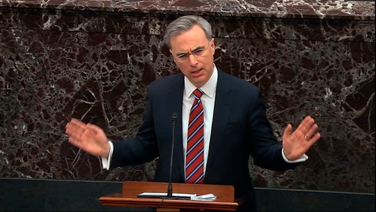 In this image from video, White House counsel Pat Cipollone speaks during the impeachment trial against President Donald Trump in the Senate at the U.S. Capitol in Washington, Saturday, Jan. 25, 2020. (Senate Television via AP)