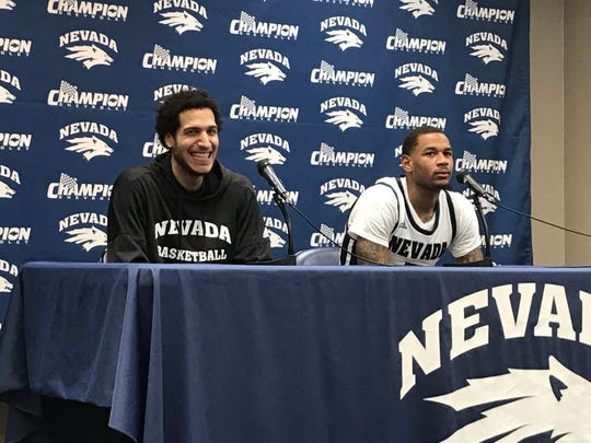 Johncarlos Reyes, left, and Nisre Zouzoua, speak after beating New Mexico on Saturday at Lawlor Events Center.