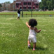 Ryan Poles visits Evans Field at Canandaigua Academy with his daughter Jordyn last summer.
