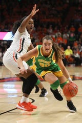 Oregon's Sabrina Ionescu (20) dribbles around Oregon State's Madison Washington (3) during the second half of an NCAA college basketball game in Corvallis, Ore., Jan. 26, 2020.
