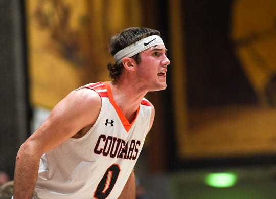 Viborg-Hurley's Shane Andersen (0) yells to his teammates during the game against De Smet on Saturday, Jan. 25, 2020 at the Corn Palace in Mitchell, S.D.