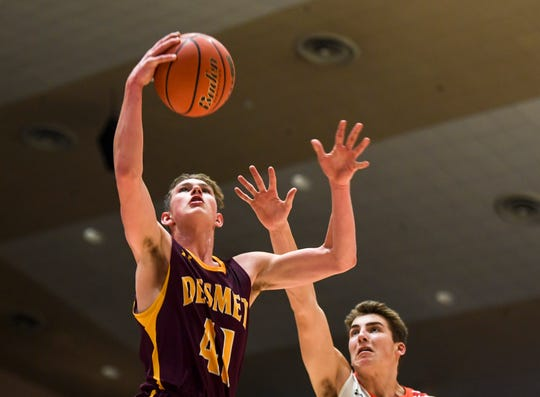 De Smet's Tory Holland (41) goes up for a shot during the game against Viborg-Hurley on Saturday, Jan. 25, 2020 at the Corn Palace in Mitchell, S.D.