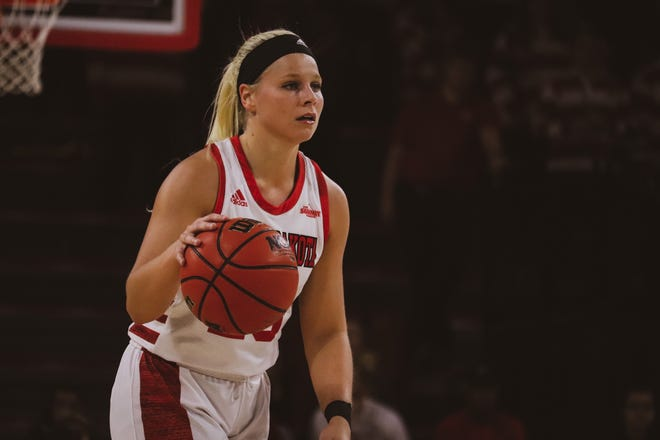 South Dakota's Madison McKeever dribbles the ball up the floor against Oral Roberts on Jan. 26, 2020.