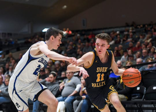 Sioux Valley's Kelton Vincent (11) drives toward the basket during the game against St. Thomas More on Saturday, Jan. 25, 2020 at the Corn Palace in Mitchell, S.D.