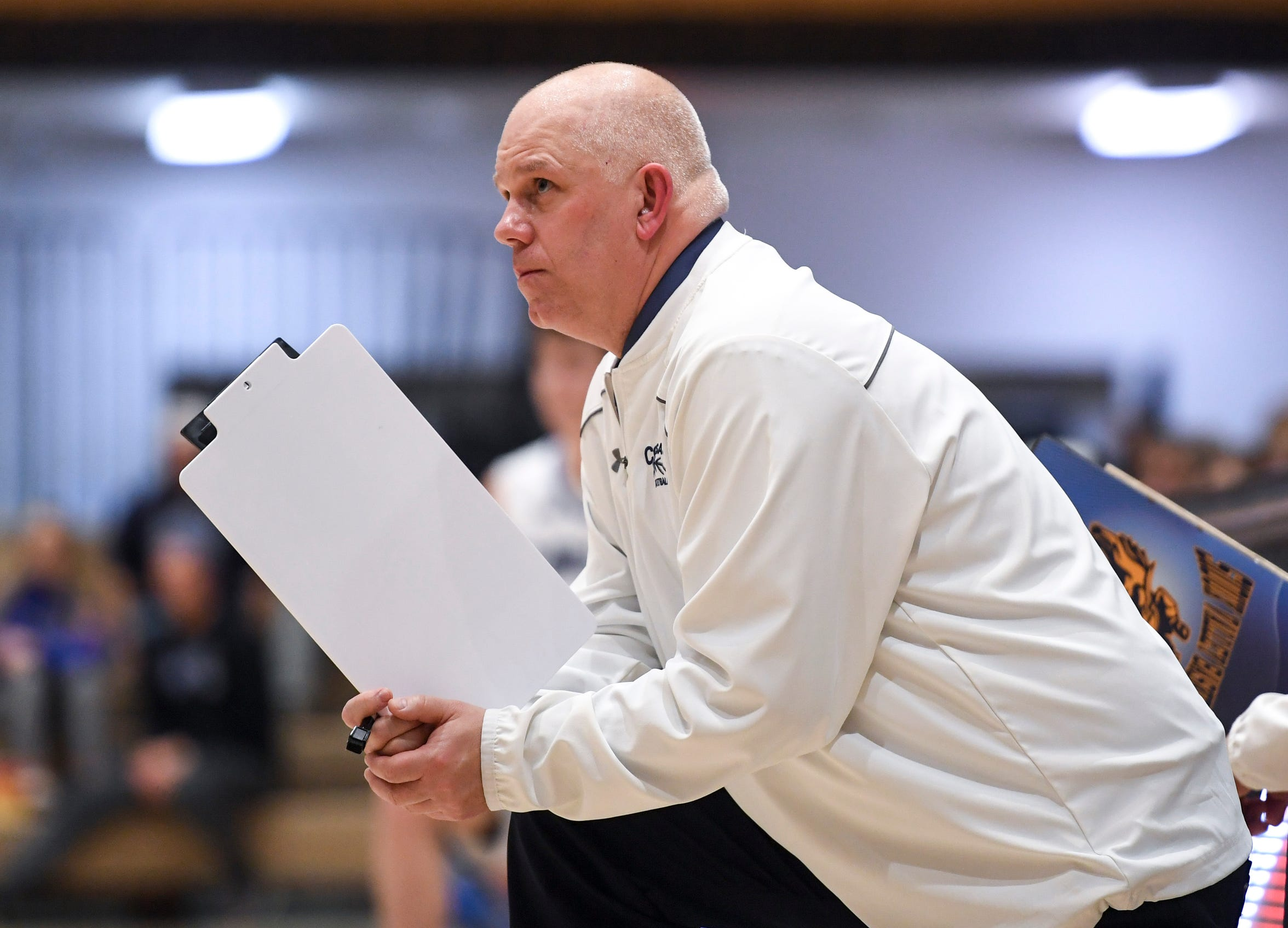 Sioux Valley head coach Bill Vincent watches his team play St. Thomas More during the game on Saturday, Jan. 25, 2020 at the Corn Palace in Mitchell, S.D.