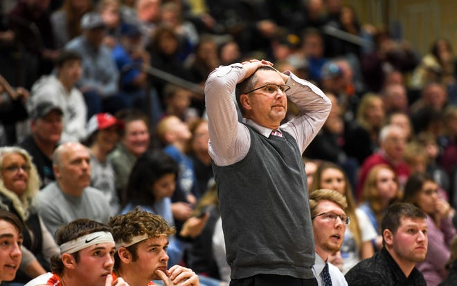 Viborg-Hurley head coach Galen Schoenefeld watches the game against De Smet on Saturday, Jan. 25, 2020 at the Corn Palace in Mitchell, S.D.