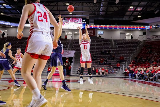 South Dakota's Monica Arens shoots a jumper against Oral Roberts on Jan. 26, 2020.