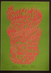This vibrant red-on-green poster, for the Association and other bands, was one of Wilson's first works of note, said art historian Walter Medeiros for a 2006 News-Leader story.