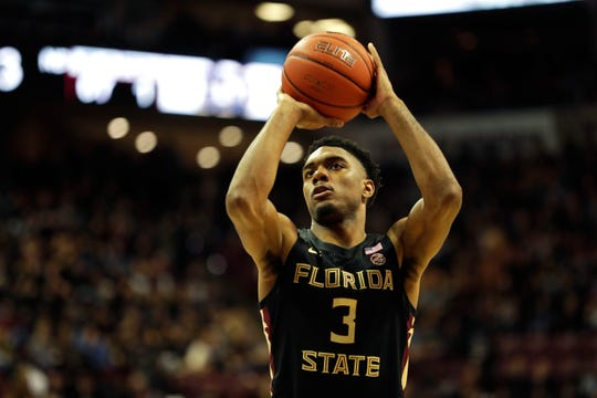 Florida State Seminoles guard Trent Forrest (3) shoots a free-throw. The Florida State Seminoles beat the Notre Dame Fighting Irish 85-84 on Saturday, Jan. 25, 2020.