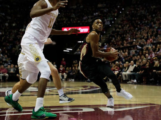 Florida State Seminoles guard Trent Forrest (3) drives the ball to the hoop. The Florida State Seminoles beat the Notre Dame Fighting Irish 85-84 on Saturday, Jan. 25, 2020.
