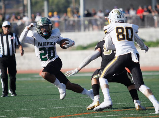 Pacifica High's Malik Sherrod is off an running for the West team during the 47th annual Ventura County All-Star Football Game on Saturday at Ventura College. Sherrod had 135 yards from scrimmage and was named MVP after leading the West to a 42-26 victory.