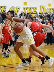Lexi Howe corrals a loose ball for Tri-Valley against visiting Sheridan on Saturday night in Dresden.