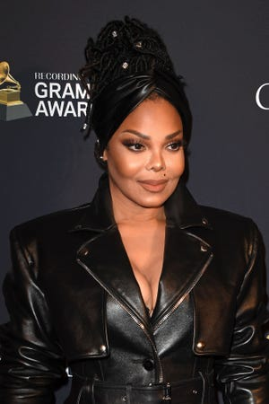 Janet Jackson arrives for the Recording Academy and Clive Davis pre-Grammy gala.
