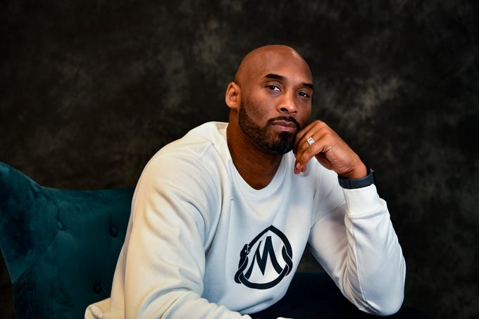 Kobe Bryant poses for a portrait inside of his office in Costa Mesa, California. Bryant, one of the greatest NBA players in history, is building an impressive resume in his post-basketball career, including winning an Academy Award.