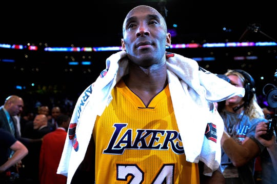 Los Angeles Lakers forward Kobe Bryant (24) looks on after the Lakers defeat of the Utah Jazz 101-96 at Staples Center in Bryant's final game of his career on Apr 13, 2016. Bryant scored 60 points in the game.
