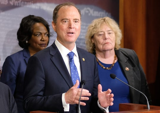 House impeachment managers - Reps. Val Demings, D-Fla., Rep. Adam Schiff, D-Calif., and Zoe Lofgren, D-Calif. - hold a news conference after day five of the Senate impeachment trial against President Donald Trump at the U.S. Capitol in Washington, Jan. 25, 2020.
