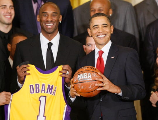 Kobe Bryant with former President Barack Obama in the White House in 2010.