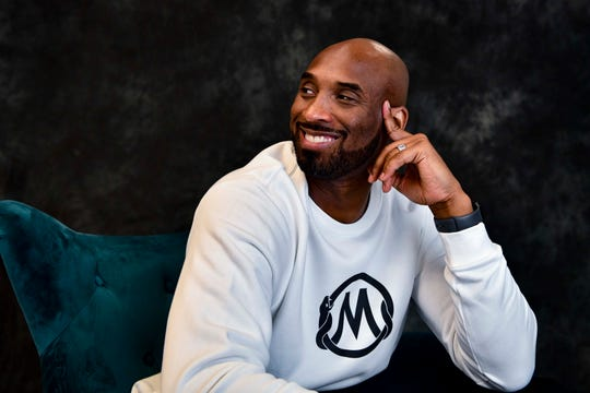 Jan 17, 2020; Costa Mesa, CA, USA;   Kobe Bryant poses for a portrait inside of his office in Costa Mesa, California. Bryant, one of the greatest NBA players in history, is building an impressive resume in his post-basketball career, including winning an Academy Award.  Mandatory Credit: Harrison Hill-USA TODAY