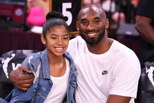 Jul 27, 2019; Las Vegas, NV, USA; Kobe Bryant is pictured with his daughter Gianna at the WNBA All Star Game at Mandalay Bay Events Center. Mandatory Credit: Stephen R. Sylvanie-USA TODAY Sports