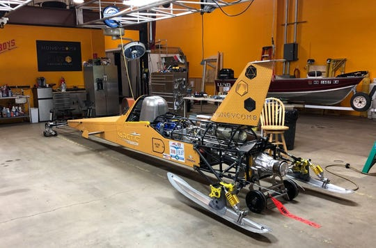 Arctic Arrow is the rocket-powered sled built by Kurt Anderson of Orono, Minnesota. He hopes to break a world record with it in February on Bear Lake in Manawa.