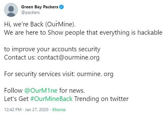 This tweet was sent out from the Packers' official Twitter account Monday afternoon.