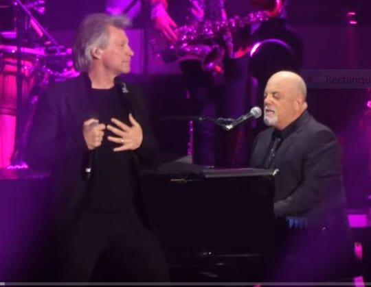 Jon Bon Jovi and Billy Joel at Madison Square Garden in New York City on Saturday, Jan. 25.