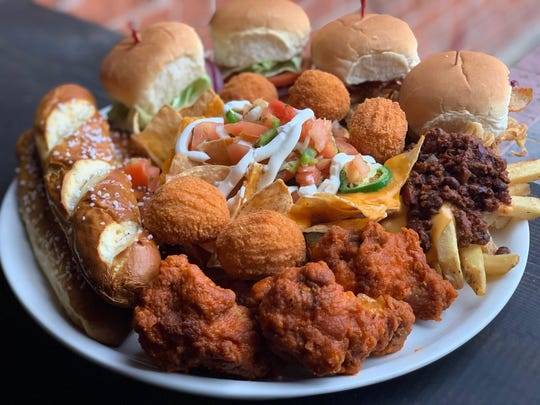 The Red Zone Combo, with pretzels, sliders, cheese fries, wings, nachos and chicken cordon bleu bites, is a football-themed special at McDonagh's Pub in Keyport.