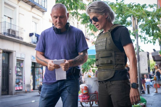 """Linda Hamilton and Director Tim Miller on the set of Skydance Productions and Paramount Pictures' """"Terminator: Dark Fate."""""""