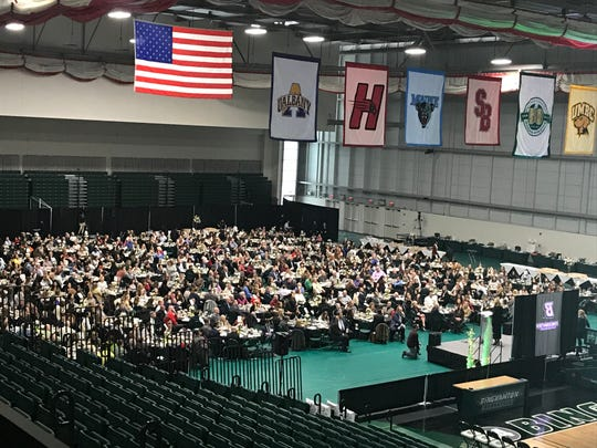 More than 800 people attend Monday's Celebrating Women's Athletics Luncheon at Binghamton University's Events Center. Yankees broadcaster Suzyn Waldman was the featured speaker.