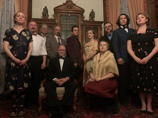 """The cast of """"Hamlet"""" at the Phelps Mansion Museum, is (seated from left) Chris Nickerson and Amy Smith; (standing from left) Samantha Sloma, John Montgomery, Nick DeLucia, Joe Bardales, Adam Holley, Jessica Nogaret, Charles Berman, Gil Choi and Julia Adams."""